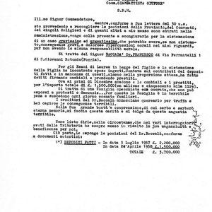 L'allarmata lettera del Provinciale cappuccino di Toscana al comm. Giuffrè, circa la situazione debitoria del dr. Baccalà, che dopo aver perso nell'operazione truffaldina 3 milioni e 700 mila lire, morirà di crepacuore