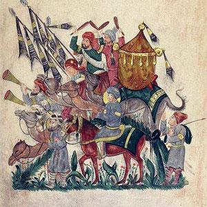 G.L. SCHLUMBERGER, Esercito saraceno in marcia, con musicisti e alfiere (1890), da un manoscritto arabo del XIII sec. Parigi, Bibliothèque nationale