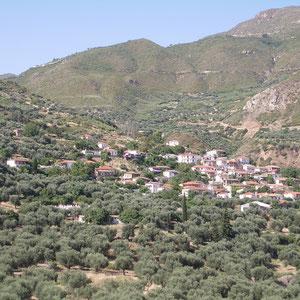 Kerinia eingebettet in die Hügellandschaft und Olivenhainen