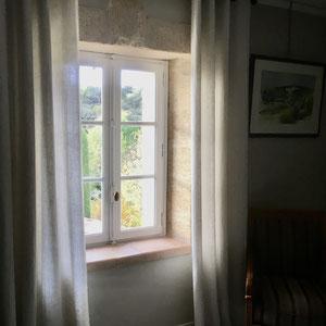 rideaux lin blanc cassé, superbe tombé