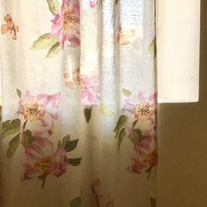 lin imprimé fleurs grande largeur