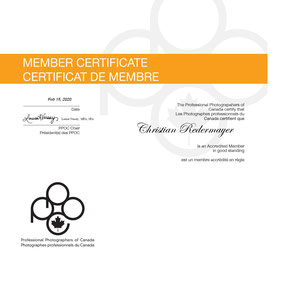 February 2020: Accredited Member of the Professional Photographers of Canada