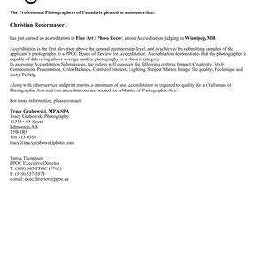 February 2020: - Achieved the PPOC Accreditation in Fine Art - Photo Decor - Press Release