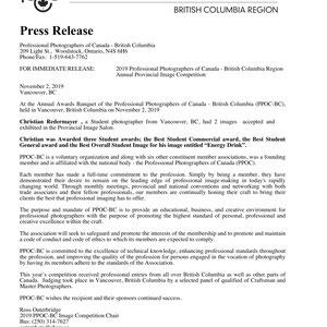 November 2019: 74th PPOC-BC Awards Ceremony - Press Release - 3 Student Awards