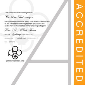 February 2020: - Achieved the PPOC Accreditation in Fine Art - Photo Decor