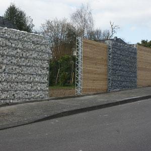 Gabionen mit Holz und Steinfüllung, Gartengestaltung Gelbrich - Wuppertal