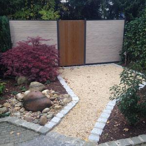 Zaun WPC und Corteenstahl, Gartengestaltung Gelbrich - Wuppertal