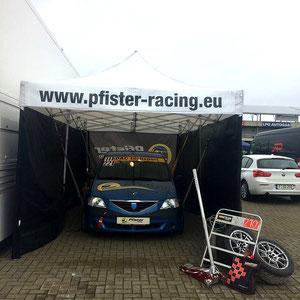 Testtag ADAC Logan Cup Pfister-Racing Teamzelt vorne
