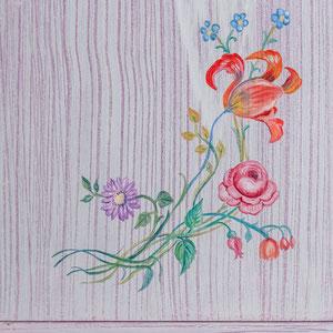 Porte de placard en bois - Imitation de bois cérusé & décors floral (détail) - Copyright Pascale Richert