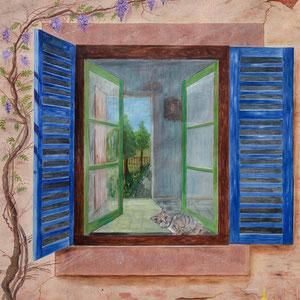 Trompe-l'œil - Chaton à la fenêtre (160 cm x 120 cm) - Copyright Pascale Richert