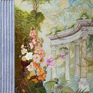 Trompe-l'œil - Composition florale et colonnes antiques ( 220 cm x 120 cm) - Copyright Pascale Richert