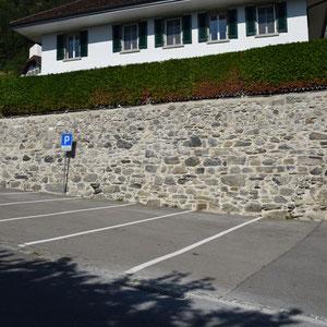 Mauersanierung, Pfarrhaus Wimmis, André Iseli Stein- u. Bildhauerwerkstatt, Wimmis