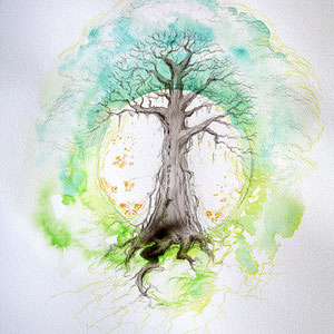 Baumarbeit 5; 2011; 41 x 31 cm; Tusche, Aquarell auf Papier; in Privatbesitz