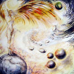 Engel kennen den Weg; 2008; 80 x 80 cm; Öl auf Leinwand