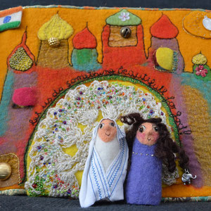 Seite aus textilem Buch von Faserverbund: Indien