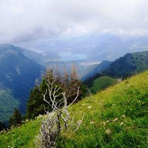 Arcalod (Bauges, 73) : vue sur le lac d'Annecy - AU BOUT DES PIEDS