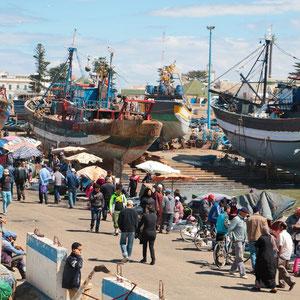 Lebhaft geht es am Hafen von Essaouira zu.