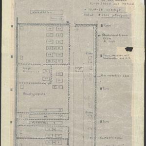 Plattegrond Bergen-Belsen, 'KL Bergen-Belsen, Zustand Jan. 1944 - aantal en nationaliteit van de gevangenen in de verschillende barakken'