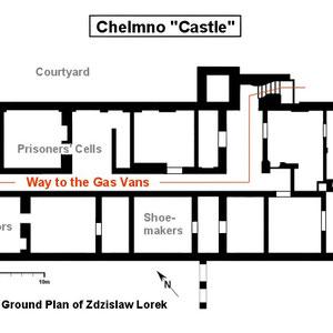 Plattegrond Chelmno kasteel - de plek waar de mensen in de eerste periode verzameld werden.