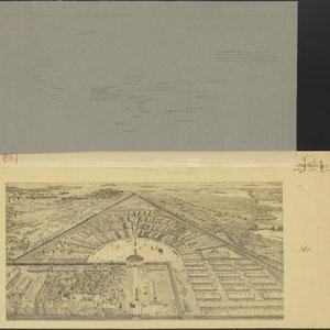 Tekening met plattegrond van het concentratiekamp Sachsenhausen-Oranienburg. Met verklaring 1945 (2)