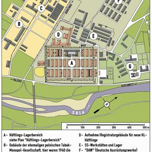 Plattegrond Auschwitz I en omgeving