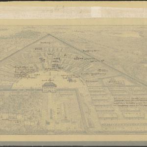 Tekening met plattegrond van het concentratiekamp Sachsenhausen-Oranienburg. Met verklaring 1945