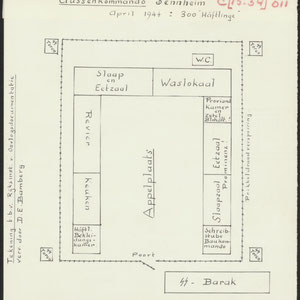 Situatieschets van Aussenkommando Sennheim, een buitencommando van Natzweiler, 300 gevangenen, april 1944