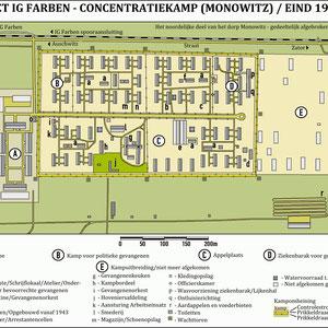 Plattegrond Auschwitz III (Monowitz) eind 1944