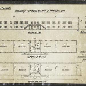 Plattegrond Buchenwald - Zweistöckige Häftlingsunterkünfte im Massivbauweise Buchenwald 30 april 1938