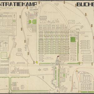 Plattegrond Buchenwald  - door een oud-gevangene. Met aantekeningen, 15 september 1945