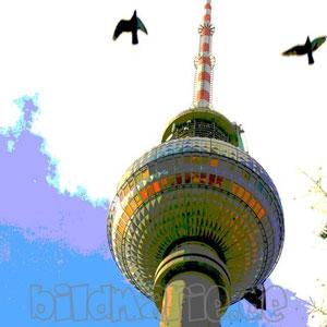 23.f.-fernsehturm und vögel-posterart