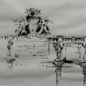 """""""Rom: Fontana di Trevi"""" Federzeichnung, 20 x 30cm, 2010"""