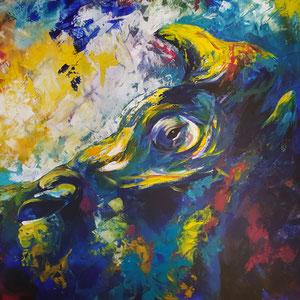 """""""Nashorn im Blau"""" Acryl auf Leinwand, 60 x 80cm, 2016"""