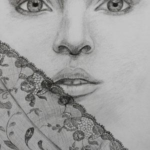 """""""Blick"""" Bleistiftzeichnung, 30 x 39cm, 2010"""