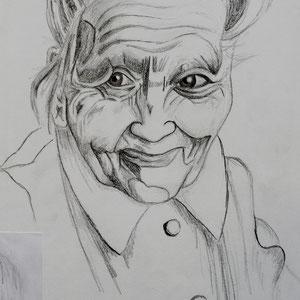 """""""Die 100-Jährige"""" Bleistiftzeichnung, 39 x 30cm, 2008"""