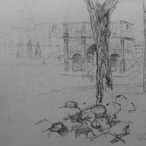 """""""Rom: Titusbogen"""" Bleistiftzeichnung nach der Natur, 20 x 30cm, 2010"""