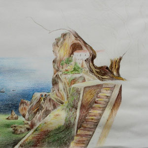 """""""Fels"""" Buntstiftzeichnung, 30 x 39cm, 2011"""