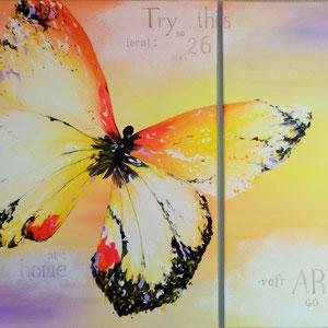 """""""Butterfly"""" Acryl auf Leinwand (2-tlg.), 60 x 100cm 2015"""