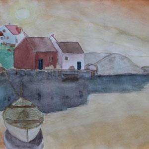 """""""Bootsanleger"""" Aquarellmalerei, 30 x 40cm, 2008"""
