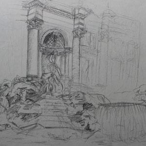 """Rom: Fontana di Trevi"" Bleistiftzeichnung nach der Natur, 20 x 30cm, 2010"