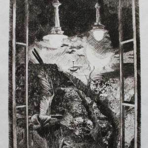 """""""Nacht"""" Druck einer Kaltnadelradierung, 21 x 15cm, 2010"""