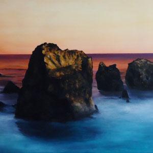 """Felsen im Meer"" Auftragsarbeit, Acryl auf Leinwand, 50 x 120cm, 2011"