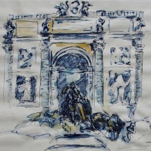 """Rom: Fontana di Trevi"" Federzeichnung mit Aquarell, 20 x 30cm, 2010"