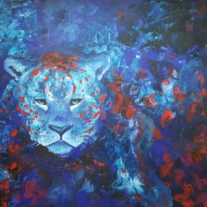 """""""Gepard im Blau"""" Acryl auf Leinwand, 70 x 100cm, 07/2016"""