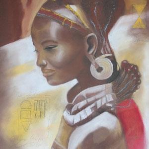 """""""Afrikanerin"""" Pastellkreidezeichnung, 64 x 50cm, 2007"""