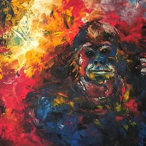 """""""Blau im Rot"""" Acryl auf Leinwand, 60 x 80cm, 2016"""