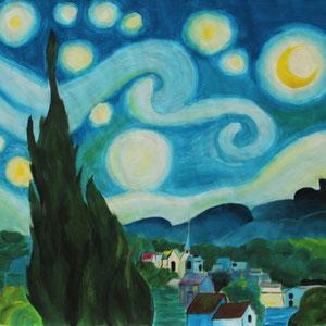 """""""Die Nacht"""" Auftragsarbeit, Acrylmalerei, 50 x 50cm, 2010"""