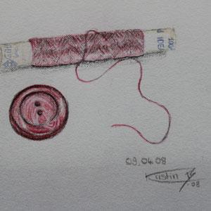 """""""Nähgarn"""" Buntstiftzeichnung nach der Natur, 10 x 13,5cm, 2008"""