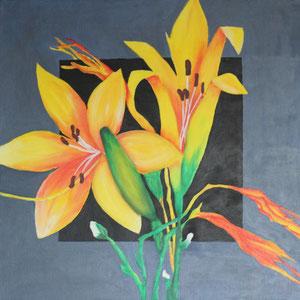"""gelbe Lilie"" Acrylmalerei, 50 x 50cm, 2005"