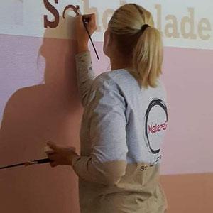 Wanddekor Schriftzug Malerin